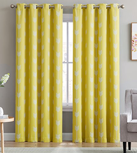 HLC.ME Arrow Printed Blackout Room Darkening Thermal Grommet Window Curtain Drape Panels for Living Room - Set of 2 - Bright Yellow - 96