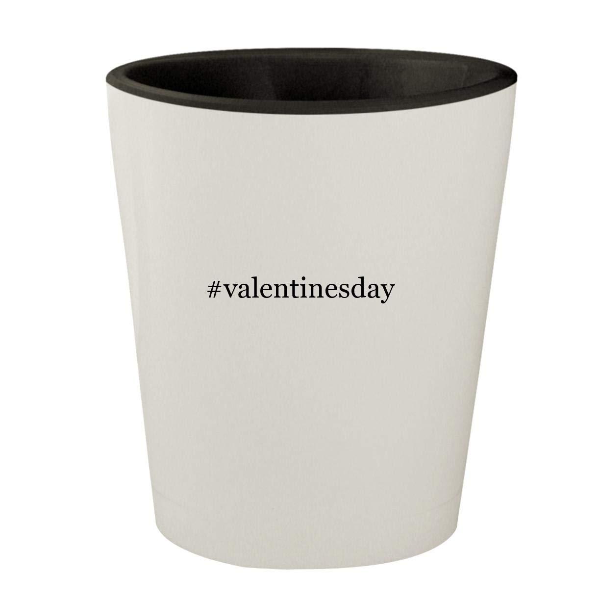 #valentinesday - White Outer & Black Inner Hashtag Ceramic 1.5oz Shot Glass