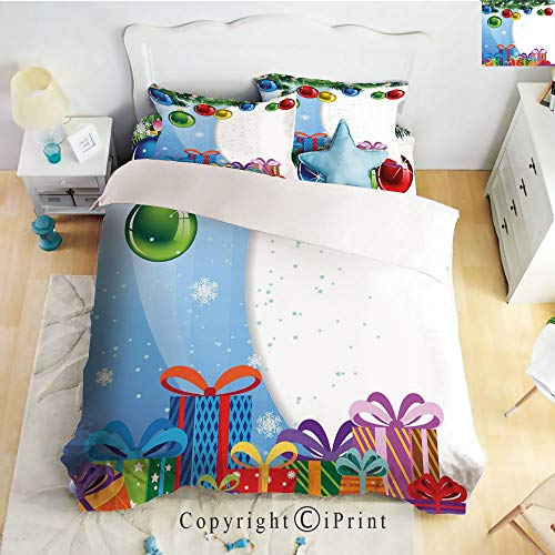 Homenon Hight Quality 4 Piece Bed Sheet Set,Colorful Surprise Present Boxes Bowties and Vibrant Xmas Balls Fir Tree Branches Decorative,Multicolor,King Size