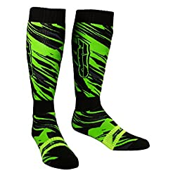 AXO MX Prodigy Socks (Black/Fluorescent-Green, One Size)