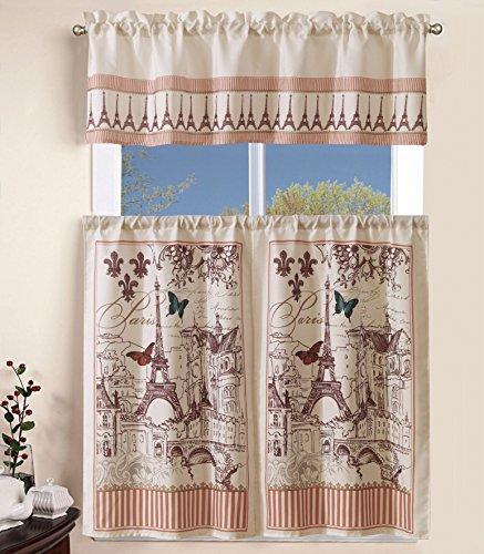 Elegant Home Collection 3 Piece Paris Eiffel Tower Design Kitchen Window Curtain Set Tiers and Tailored Valance Window Treatment Set # Paris ()