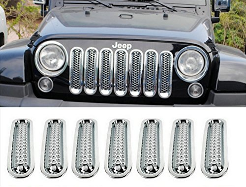 Matte Silver Mesh Grill Mesh Grill Insert for Jeep Wrangler JK JKU Unlimited Rubicon Sahara X Off Road Sport Exterior Accessories Parts 2007-2015(7 pcs in 1 package)