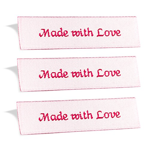 Wunderlabel Made with Love Crafting Craft Art Fashion Woven Ribbon Ribbons Tag for Clothing Sewing Sew on Clothes Garment Fabric Material Embroidered Label Labels Tags, Red on Off White, 25 (Blouse Love Label)