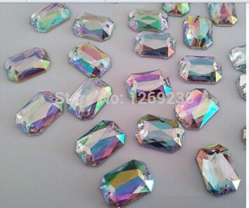 Accessory Gemstone 120pcs 10x14mm Clear AB Sew On Acrylic Crystal Rhinestone Rectangular shape flatback strass Diamond - Rectangular Shape