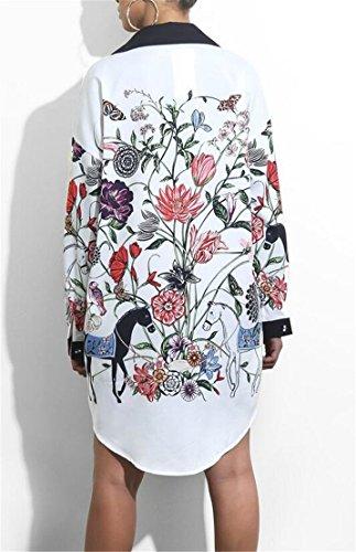 Domple Button Shirt Print Classic African 1 Long Down T Dress Sleeve Women's rqB4Sr