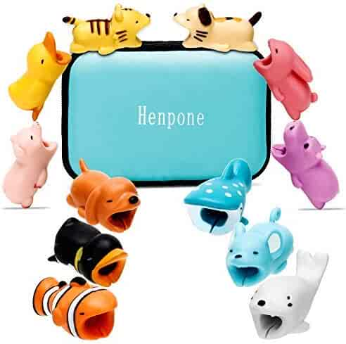 12 Pcs Cable Bites for iPhone Cable Cord Cute Animal Cable Buddies Bite Cable Protector Saver Phone Accessories