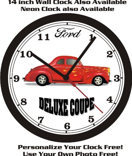 - 1940 FORD DELUXE COUPE HOT ROD WALL CLOCK-FREE USA SHIP!