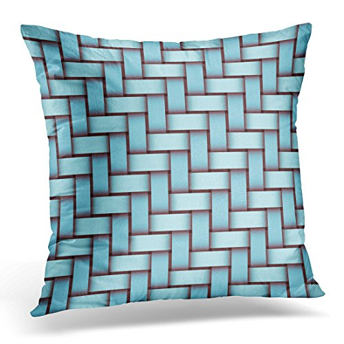 Bamboo Throw Woven (Sdamase Throw Pillow Cover Pink Bamboo Turquoise Woven Pattern Abstract Design Basket Decorative Pillow Case Home Decor Square 18