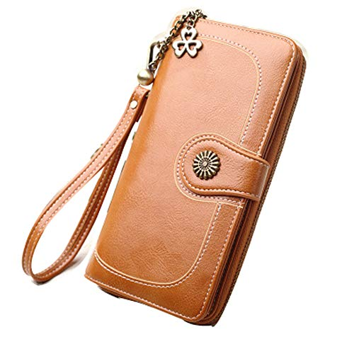 Women's Leather Clutch Large Purse Wristlet Phone Wallet Mini Crossbody Purse Bag With Card Slots