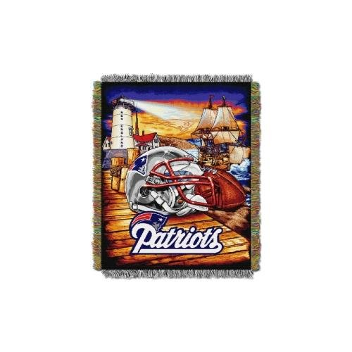 Patriots England New Tapestry (The Northwest Company Officially Licensed NFL New England Patriots Home Field Advantage Woven Tapestry Throw Blanket, 48
