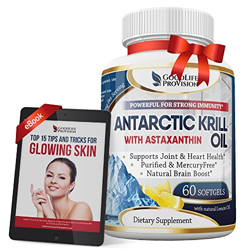 Antarctic Krill Oil – Best Pure Cold Pressed 1000mg / Serving Supplement with Extra Strength Lemon Oil, Omega 3 & Astaxanthin - 60 Beauty Pills per Bottle, 1 Month Supply for Men & Women