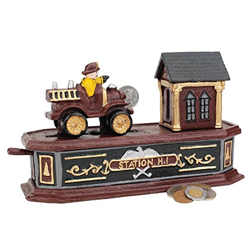 Collectors Engine - Design Toscano Fire Engine Station Number 1 Collectors' Die-Cast Iron Mechanical Coin Bank