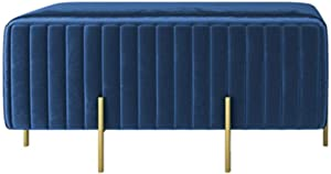 ZAIPP Velvet Footstool,Luxury Modern Upholstered Ottoman Foot Rest Stool Extra Seat Gold Legs Living Room Bedroom Decor-Royal Blue 90x45x42cm(35x18x17inch)
