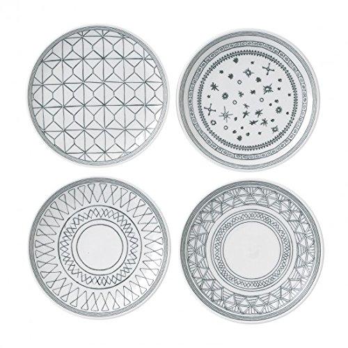 ED Ellen Degeneres Charcoal Gray 6 Inch Plates Mixed, Set of 4 ()