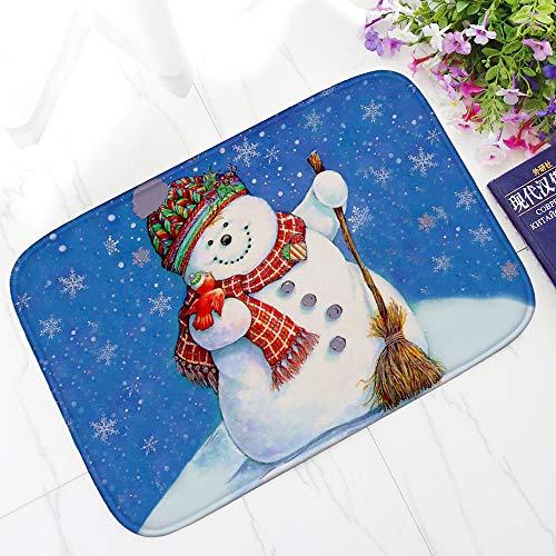 Christmas Non-slip Doormat Christmas Snowman Printing Pattern Entrance Rug Machine Washable Floor Mat Rubber 40 x 60cm ()