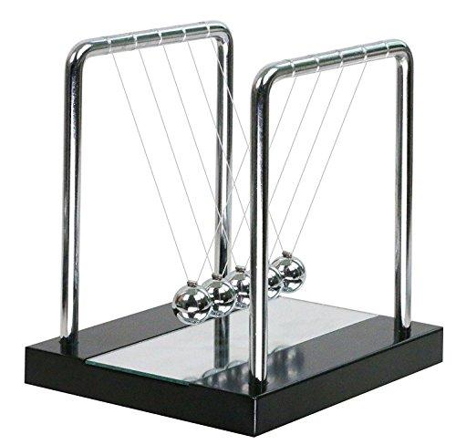 Pendulo de Newton–en madera con espejo pendulo pendulo de Newton Belen Cradle (regalo, Noel, Geek, Deco) escritorio casa Ecole habitacion infantil Newtons Cradle Balance cuna bolas, S