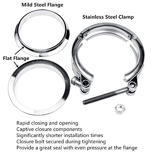3 Inch Stainless Steel Exhaust V Band Clamp Mild Steel Flat Flange Assembly