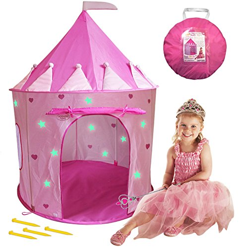 WooHoo Toys Glow-in-the-Dark Stars Princess Castle Play Tent, Pink (Step 2 Canopy Wagon)