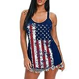 TOOPOOT Hot Sexy Women Sleeveless Tank Top,Summer Sleeveless Tank Tops Beach American Flag Printed Vest Bandage Blouse (Size:M, Blue)