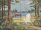Ceramic Tile Mural - Lakeside I - by Paul Brent - Kitchen backsplash / Bathroom shower