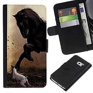 Samsung Galaxy S6 EDGE SM-G925 , la tarjeta de Crédito Slots PU Funda de cuero Monedero caso cubierta de piel ( Pegasus Jack Russell Painting Horse Mustang)