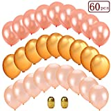 Sakolla 62Pcs 12 Inchs Rose Gold & Champagne Gold & Gold Color Latex Party Balloons for Wedding Hawaii Graduation Baby Shower Birthday Party Decoration Supplies