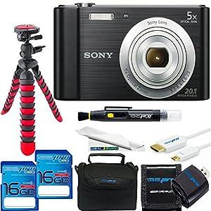 Sony Cyber-shot DSC-W800 Digital Camera (Black) + 2x 16GB SD Card + SD Card Reader + SD Card Wallet + Sturdy Flexible Tripod + Micro HDMI + Soft Padded Case + Cleaning Pen & Fiber Cloth
