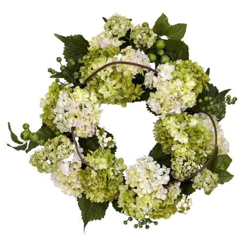 Nearly Natural 4780 Hydrangea Wreath, 22-Inch, Cream/Green