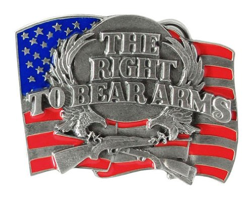 Pewter Belt Buckle - Right to Bear Arms Flag - Pewter Belt ()