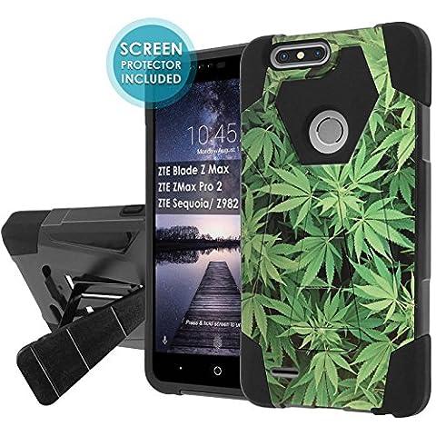 ZTE Blade Zmax Pro 2/ZTE Sequoia [NakedShield] [Black/Black] Shock Proof Armor Case [KickStand] [Screen Protector]- [Marijuana Background] for ZTE Blade Z Max/ZTE ZMax Pro 2/ZTE Sequoia/ (Zte Zmax Phone Case Marijuana)