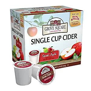 Grove Square Cider, Spiced Apple, 18 Single Serve Cups (Pack of 3)