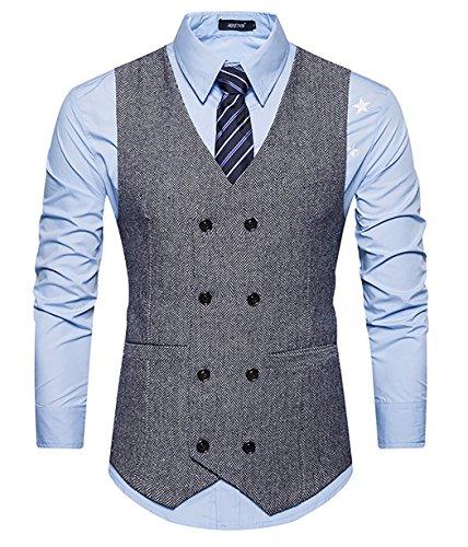 Double Breasted Tweed Coat (WULFUL Mens Slim Fit Double Breasted Tweed Waistcoat Vintage Gentleman Suit Vest Grey S)