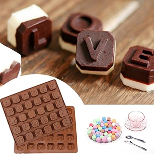 Hot Sale! AMA(TM) 26 Letters Silicone DIY Chocolate Mold Sugar Jelly Candy Ice Cube Mould Cake Cupcake Baking Mold (Coffee)