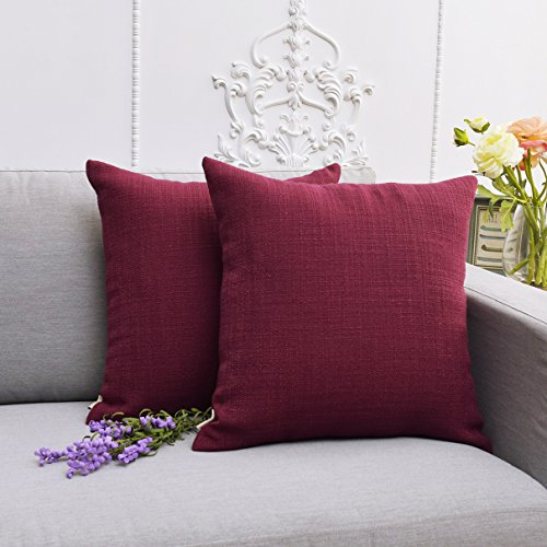 wcase, Throw Pillow Covers Solid Color Imitation Lined Linen Cushion Cover Decorative Pillow Covers Sofa Square Handmade Euro Sham,18 X 18 inches,Set of 2,Claret ()
