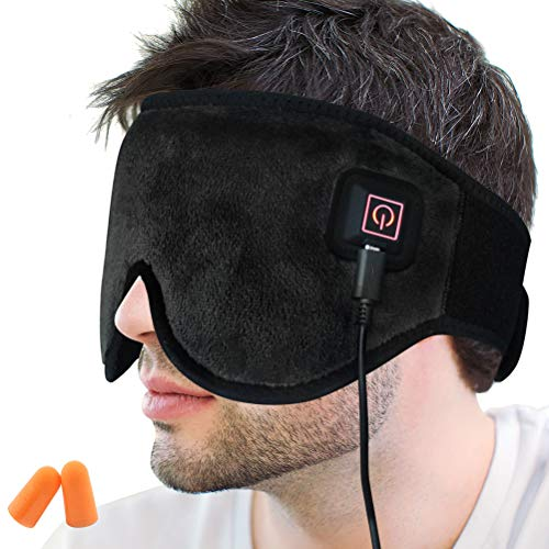 Creatrill X-Large Heated Eye/Sinus Mask, USB Heating Compress Pad for Dry Tired Puffy Eyes, Dark Circle, Migraines Headache, Blepharitis, Sties, Sinus Pain Pressure Relief Hot Therapy (Black) (Best Sinus Pain Relief)