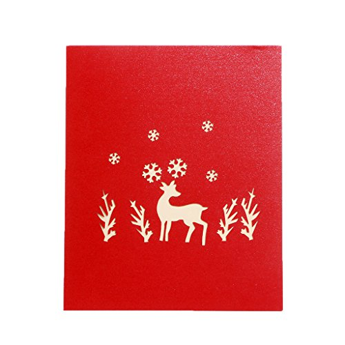 Arich Deer 3D Greeting Card Pop Up Paper Cut Postcard Birthday Valentines Party Gift (Easy Halloween Pop Up Cards)