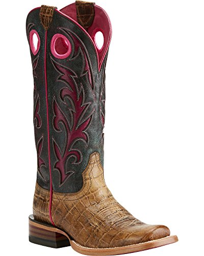 Ariat Women's Chute Out Croc Print Cowgirl Boot Square Toe Tan 8 M by Ariat (Image #5)
