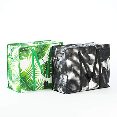 Homeleave Extra Large Oversized Heavy Duty Zippered Laundry Bags - For Shopping Storage Moving and More - Made From Ultra Durable Woven Plastic - Reusable Big Portable Tote Bag With Handles and Zipper
