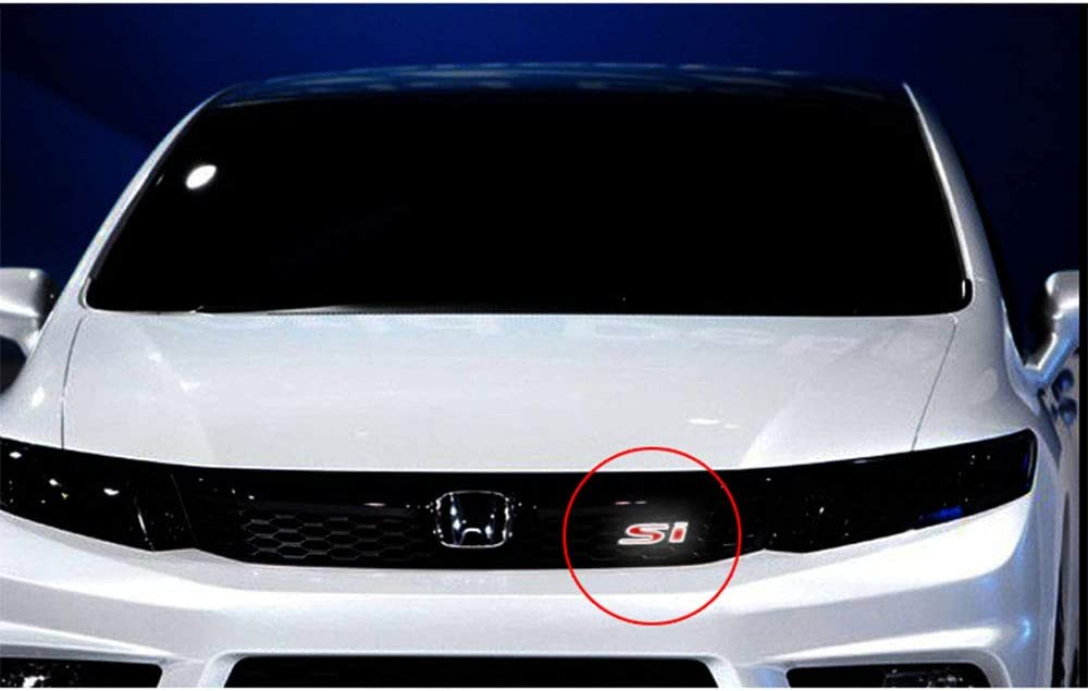 Mynew SI-LED Light Car Front Grille Badge Illuminated Decal Universal for All Honda Civic
