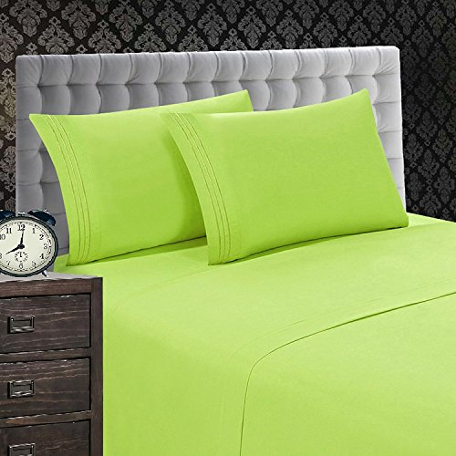 Elegant Comfort 1500 Thread Count Luxury Egyptian Quality Wrinkle and Fade Resistant 4-Piece Sheet Set, Queen, (Lime Green Sheets)
