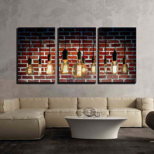 - wall26 3 Piece Canvas Wall Art - Decorative Antique Edison Style Filament Light Bulbs - Modern Home Decor Stretched and Framed Ready to Hang - 16