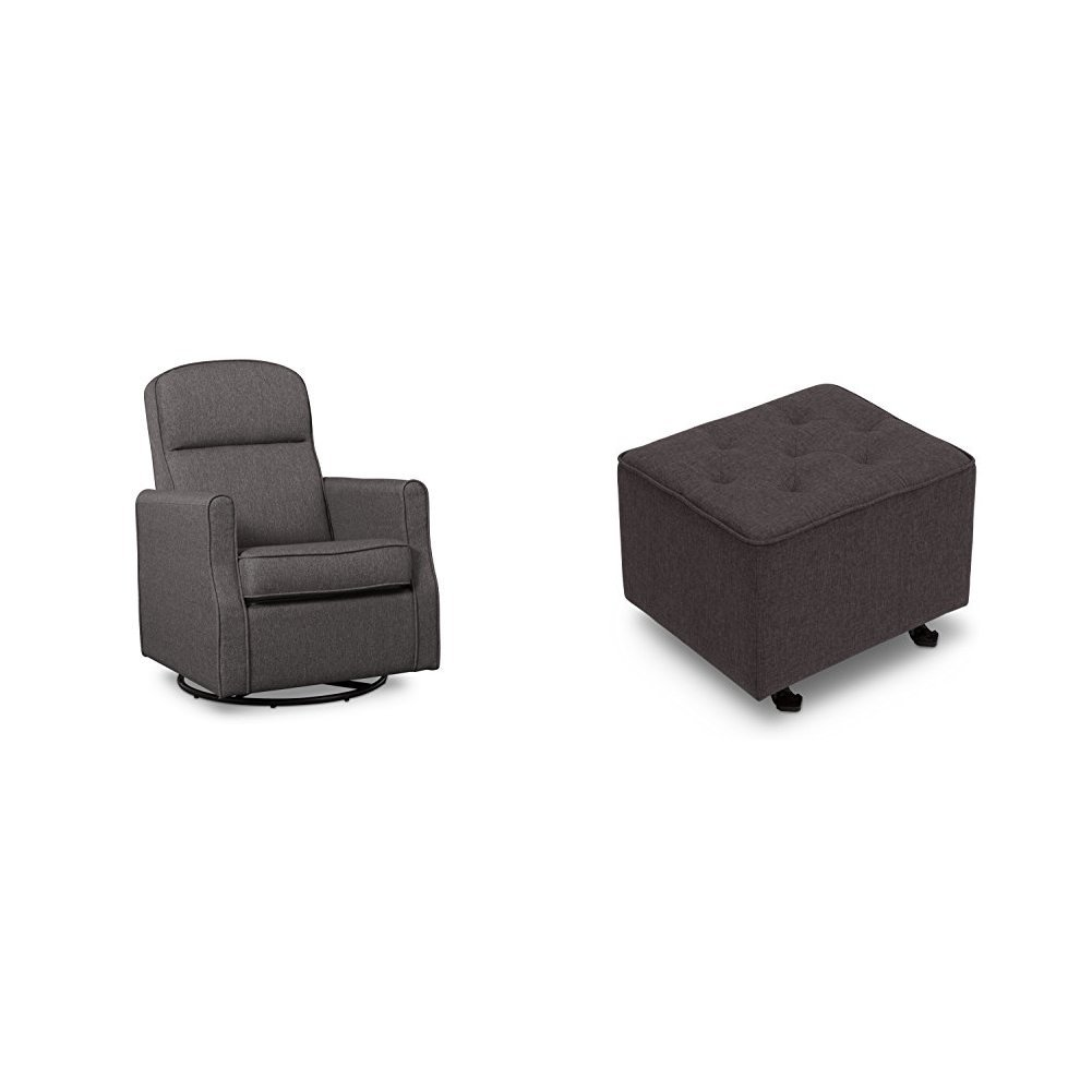 Delta Furniture Blair Slim Glider Swivel Rocker Chair with Tufted Gliding Ottoman, Charcoal