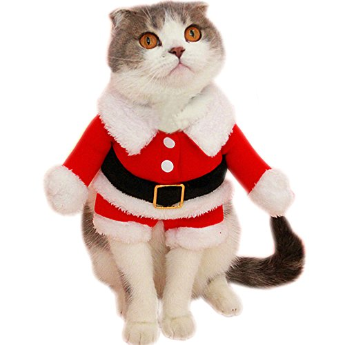Bolbove Pet Christmas Santa Claus Suit Costume for Small Dogs Cats Jumpsuit Winter Coat Warm Clothes (Red, Large) -
