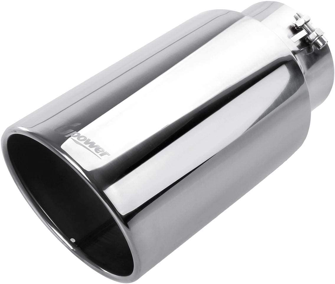 "Chrome Stainless Steel Bolt-On Tail Pipe Exhaust Tip 3/"" Inlet 4/"" Outlet 15/"" Long"