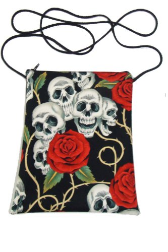 US Handmade Fashion Passport Cover Bag SKULLS ROSE TATTOO Day of the Dead Skulls Rockabilly Halloween Gothic Pattern Shoulder Bag US Handmade Handbag Purse Alexander Henry Fabric, PT 1005]()