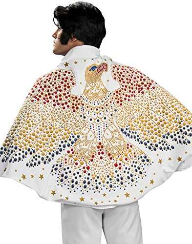 Elvis Cape with Eagle Design Costume, White, One Size (Elvis Costume For Kids)