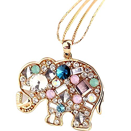 lightclub Multicolor Rhinestone Elephant Necklace Long Chain Party Jewelry Sweater Decor - Golden Elegant Necklace for Women