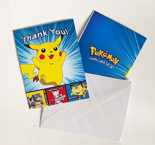 Pokemon Pikachu Thank You Note Cards and Envelopes – 8 Count (Pokemon Thank You Cards)