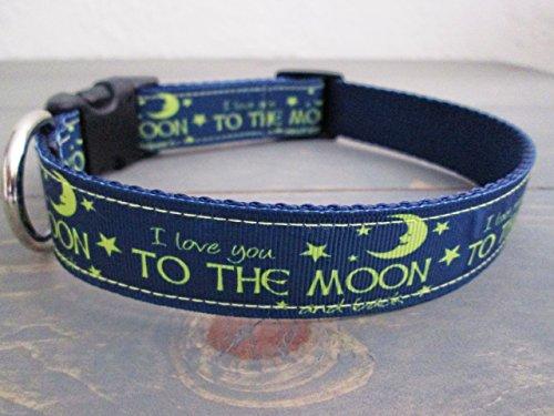 I Love You To The Moon And Back Dog Collar, Moon And Stars Ribbon, 1 Inch Dog Collar, Adjustable Collar, Pet Collar