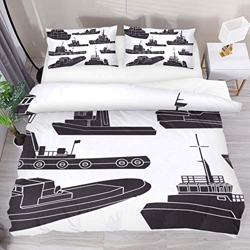 LUCASE LEMON ALEX 3 Pieces Black and White Tugboat Clipart Duvet Cover Set (1 Duvet Cover + 2 Pillowcases) Twin Size Breathable Decorative Bedding Sets Decorative for Kids Teens Girls Boys ()